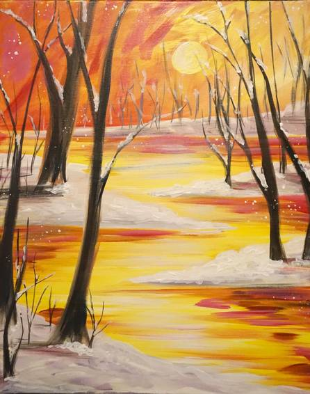 A Golden Winters Day paint nite project by Yaymaker