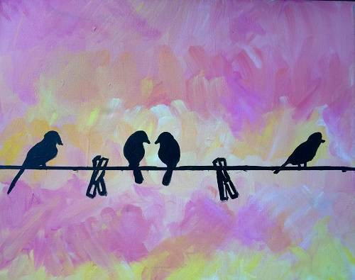 A Birds on Clothesline paint nite project by Yaymaker