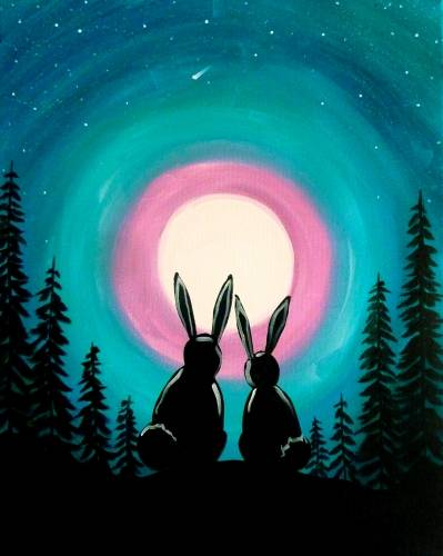 A Woodland Sky paint nite project by Yaymaker