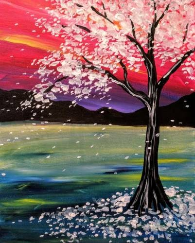 A White Tree with Colorful Sky paint nite project by Yaymaker