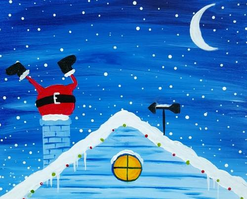 A Santa Stuck in Chimney paint nite project by Yaymaker