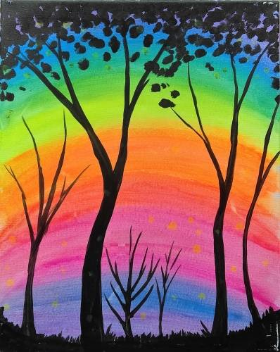 A Black Lite Forest paint nite project by Yaymaker