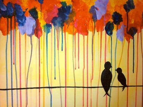 A Colourful Birds on a Wire paint nite project by Yaymaker