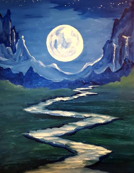 A Blue Moon River Dance paint nite project by Yaymaker