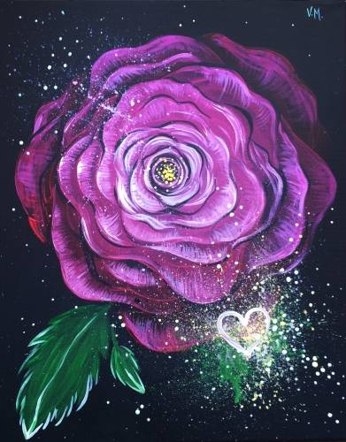 A Rose Of Love paint nite project by Yaymaker