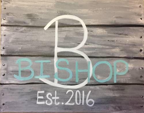 A Family Name Personalized  Faux Wood paint nite project by Yaymaker