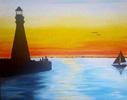 A Sunset Lighthouse ll paint nite project by Yaymaker