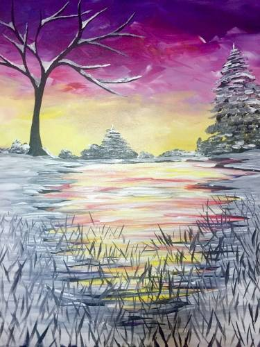 A Awesome Winter Sunset paint nite project by Yaymaker
