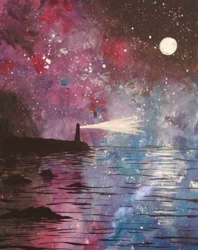 A Galaxy Lighthouse paint nite project by Yaymaker