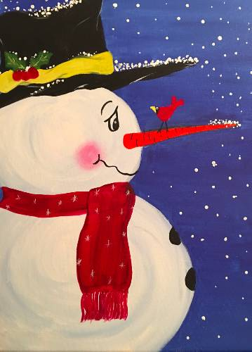 A Under the Snowmans Hat paint nite project by Yaymaker