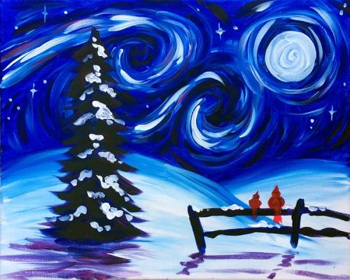 A Starry Winter Sky paint nite project by Yaymaker