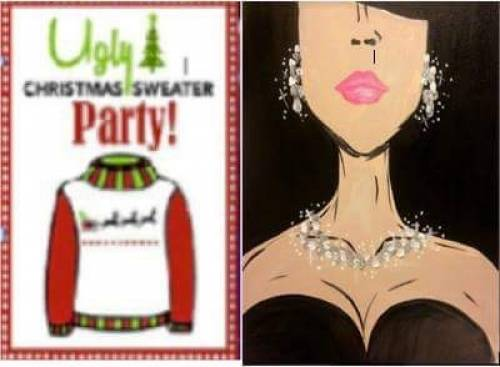 A Diamonds Are A Girls Best Friend Ugly Sweater Party paint nite project by Yaymaker