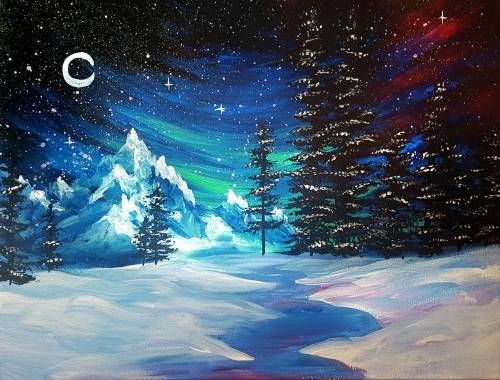 A WInter at Galaxy Mountain paint nite project by Yaymaker