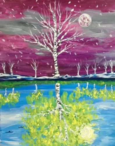 A Before and After April  Reversible Painting paint nite project by Yaymaker