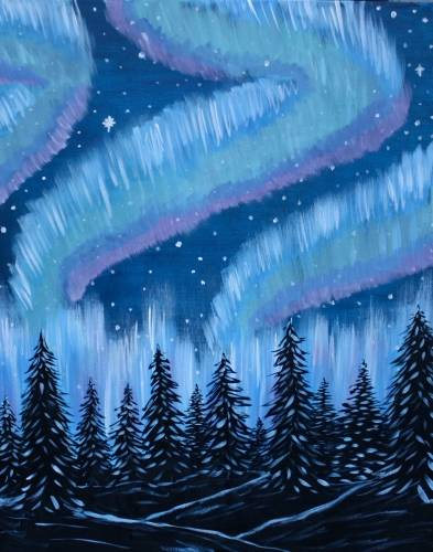 A Northern Lights Winter Nights paint nite project by Yaymaker