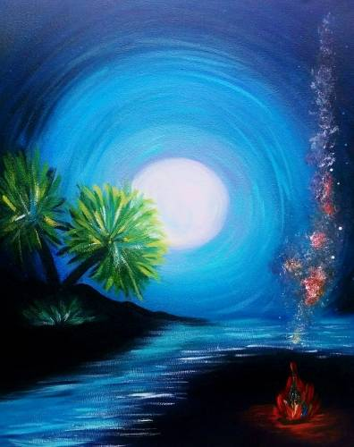 A Tropical Beach Fire paint nite project by Yaymaker