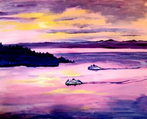 A Ferries at Sunset paint nite project by Yaymaker