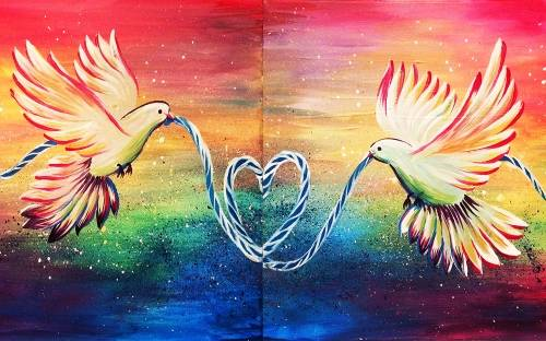 A Love Dove II Partner Painting paint nite project by Yaymaker