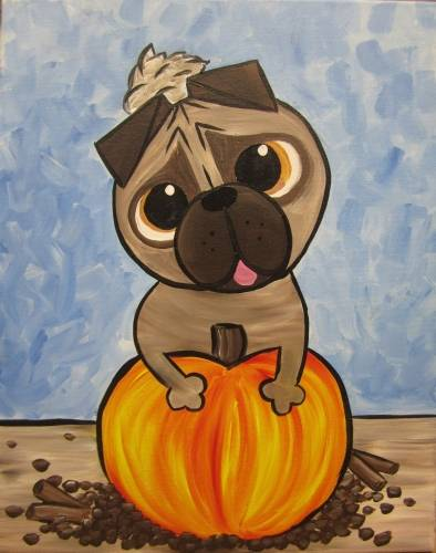 A Pugkin Spice Latte paint nite project by Yaymaker