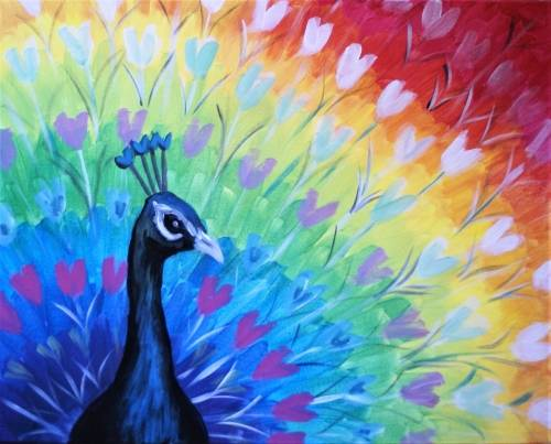 A Peacock Show of Hearts paint nite project by Yaymaker