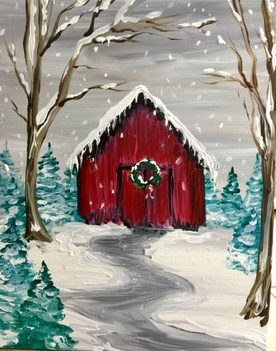 A Holiday Barn paint nite project by Yaymaker