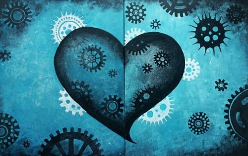 A Steampunk Heart Partner Painting paint nite project by Yaymaker