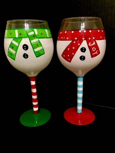 A Snowmates Wine Glasses paint nite project by Yaymaker