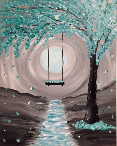 A Whimsical Moonlight paint nite project by Yaymaker