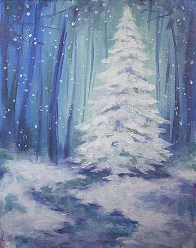 A Snowy Pine paint nite project by Yaymaker