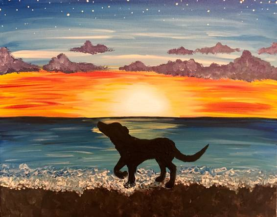 A Dog on the Beach paint nite project by Yaymaker