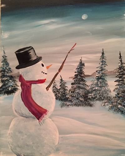 A Nite Snowman paint nite project by Yaymaker