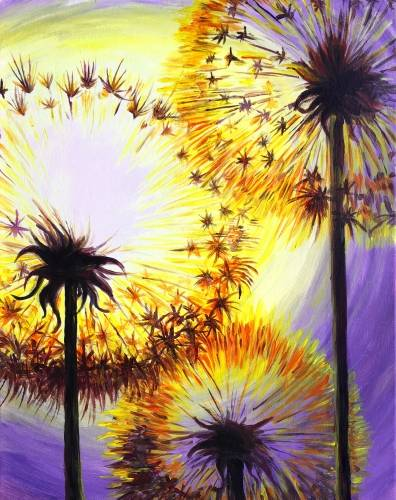 A Dancing Dandelions paint nite project by Yaymaker