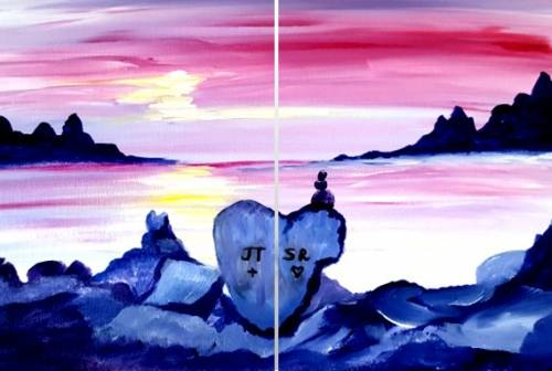 A Romance on the Rocks Partner Painting paint nite project by Yaymaker