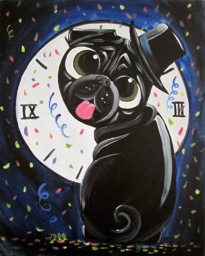 A Puggin On The Ritz paint nite project by Yaymaker