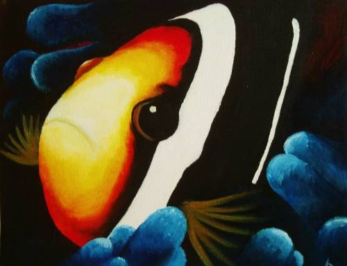A Clown Fish in Blue Coral paint nite project by Yaymaker
