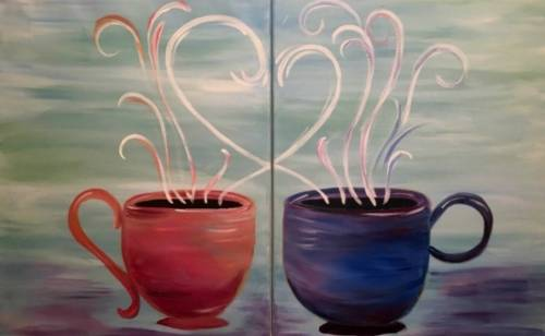 A Cups of Love Partner Painting paint nite project by Yaymaker