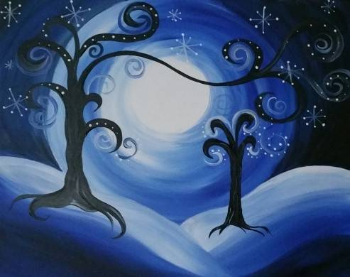 A Winter Whimsy in the Moonlight paint nite project by Yaymaker