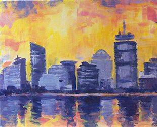 A Abstract Boston Reflection paint nite project by Yaymaker