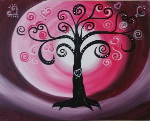 A Whimsy Love in the Moonlight paint nite project by Yaymaker