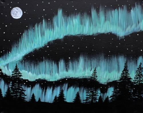 A Northern Lights with Moon paint nite project by Yaymaker