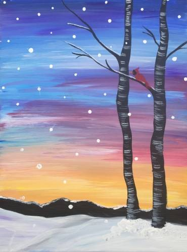 A Winter Cardinal Sunset paint nite project by Yaymaker