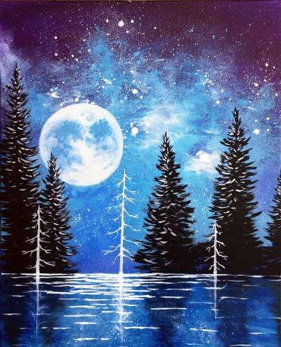 A Moonrise Lake paint nite project by Yaymaker
