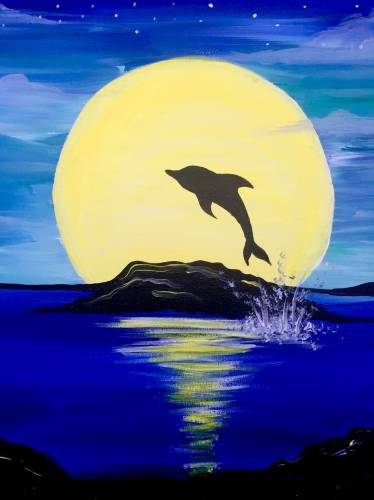 A Moonrise Dolphin Splash paint nite project by Yaymaker