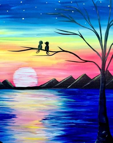 A Rainbow Sunset Lovers paint nite project by Yaymaker
