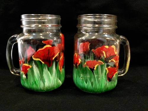 A Wild Poppies Mason Jars paint nite project by Yaymaker