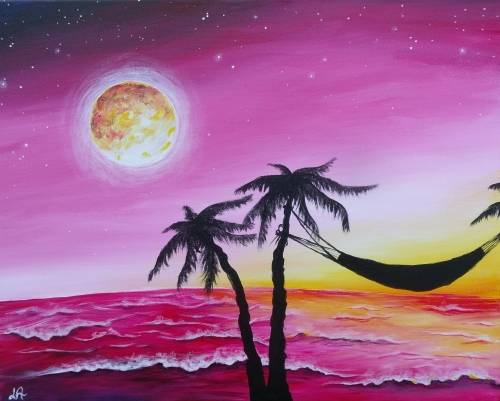 A Red Beach Skies paint nite project by Yaymaker