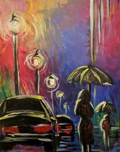 A Colorful Rainy Day on the Street paint nite project by Yaymaker
