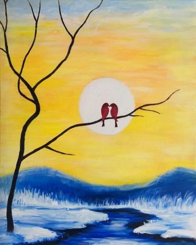 A Winter Birds II paint nite project by Yaymaker