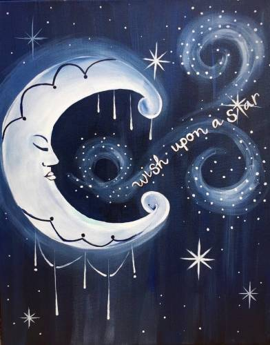 A Whispering Wishes to the Moon and Stars paint nite project by Yaymaker