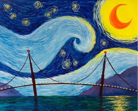 A Starry Golden Gate paint nite project by Yaymaker
